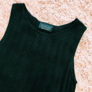 Vintage Tops - Vintage Forever Black Knit Cotton Tank Top